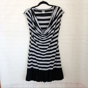 [Dots] striped cowl neck casual dress Large